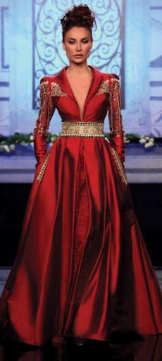 "Randa Salamoun Haute Couture 2010 I Get The Look: ""Game Of Thrones"" Style In Today's Fashions Beauty And Fashion, Red Fashion, Fall Fashion, Fashion Vestidos, Fashion Dresses, Beautiful Gowns, Beautiful Outfits, Beautiful Life, Hijab Mode"