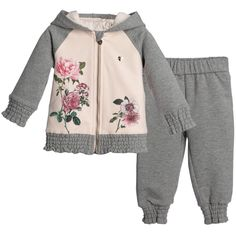 Armani Baby Girls Grey & Pink Floral Tracksuit at Childrensalon.com