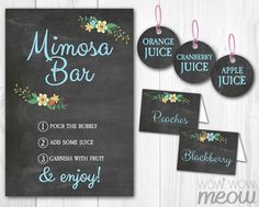 MIMOSA BAR Sign Chalk Tags & Tents Signs Printables by wowwowmeow