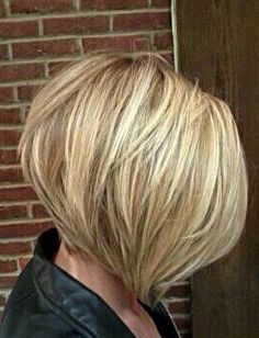 Straight blonde A-line bob  COLOR CHUNKS
