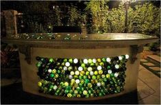 Great bar idea! empty wine bottle ideas | Practical Ideas On How To Design And Decorate With Glass Bottles