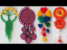 6 Easy wall hanging craft ideas with wool - งานฝีมือในการขายบล็อก Diy Crafts To Sell, Diy Crafts For Kids, Home Crafts, Sell Diy, Kids Diy, Decor Crafts, Wall Hanging Designs, Wall Hanging Crafts, Twine Crafts