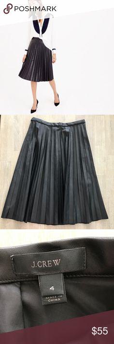 J. CREW - Black Vegan Leather Pleated Midi Skirt Gorgeous vegan leather pleated midi skirt by J. Crew. Excellent condition. Size 4. Hidden back zipper. J. Crew Skirts Midi