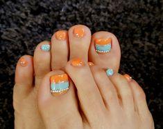 Spring toes nail Orange Toe Nails, Nail Art Set, Pedicure Nail Art, Nail Ideas, Rest, Spring, Nail Art Ideas