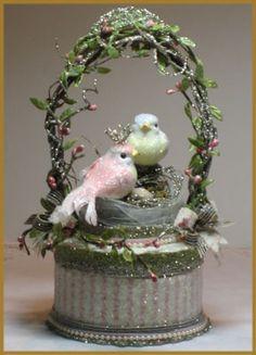 """Nesting Love Birds"" Cake Topper"