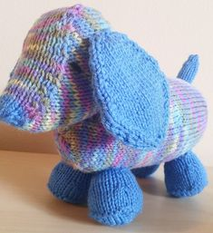 Free Knitting Pattern for Luis The Long Puppy - Toy dog designed by Rebecca Borkowski is a great stashbuster.