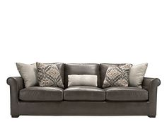 Set the stage for relaxation with this Kiernan leather sofa with open arms. Its plush down-filled seats and durable top-grain leather offer luxurious comfort designed to withstand years of use. Plus, its refined decorative accents like, topstitching, simplified roll arms and 5 contemporary pillows, will bring a chic dimension to your room.