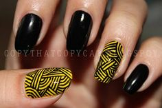 Black and yellow nails
