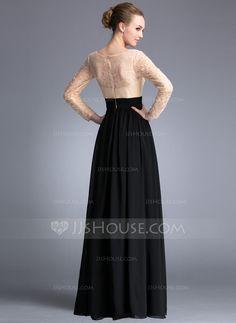A-Line/Princess Scoop Neck Floor-Length Chiffon Lace Evening Dress With Beading Sequins Split Front (017042345) - JJsHouse