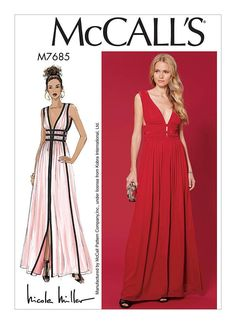 MISSES FORMAL MAXI DRESS SEWING PATTERN: Close fitting, lined, gathered dress has boned midriff, contrast bands and deep V neckline and narrow hems. McCalls M7685 Sewing Pattern US Sizes 6-8-10-12-14 or 14-16-18-20-22 This is a new complete uncut sewing pattern. Retail price $21.95 Your