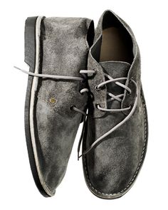 """schier grey suede """"erongo"""" vellies or desert boots. handmade in swakopmund, namibia. Suede Ankle Boots, Suede Shoes, Leather Sandals, Shoe Boots, Desert Boots, Masculine Style, Elements Of Style, Unisex Fashion, Men's Fashion"""
