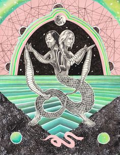 You Are the Worshipper, Celeste Byers (Photoshop/Gouache, ink, graphite, & aluminum foil on paper)