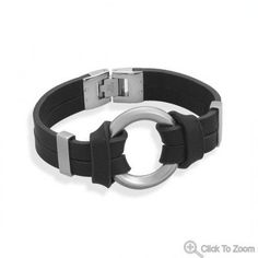 Men's leather and stainless steel bracelet.