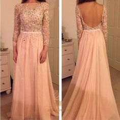 NextProm.com Offers High Quality Light Pink Illusion Long Sleeve Beaded Backless Chiffon Evening Dress ,Priced At Only USD $130.00 (Free Shipping)
