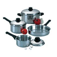 Regalware Food Service Lodging Economy Stainless 1-quart Open Saucepan by Regalware Food Service. $16.99. Aluminum bottom for even heat distribution. Easy-grip insulated handles. Durable stainless steel construction. Cleans easily and is dishwasher safe. Regalware Lodging Economy Stainless Steel features durable stainless steel construction with aluminum-slab bottoms to insure even heat distribution throughout the cooking process.  The stainless steel covers form a vap...