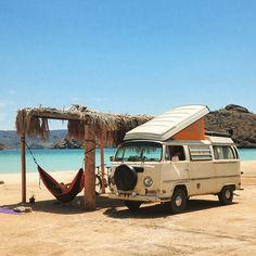 playa santispac en bahía de concepción, baja california sur.  home is where you park it