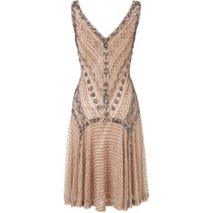 Gatsby Beaded Dress (16.365 RUB) ❤ liked on Polyvore featuring dresses, v neck dress, beaded cocktail dress, drop-waist dresses, 1920s cocktail dresses and gatsby dress