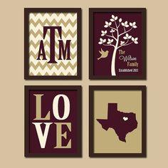 Texas A Custom Family Chevron Monogram Initial State LOVE Bird Tree Established Date Print Artwork Set of 4 Prints Wall Decor Art Wedding