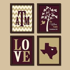 Texas A Custom Family Chevron Monogram Initial State LOVE Bird Tree Established Date Print Artwork Set of 4 Prints Wall Decor Art Wedding