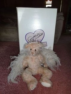 Dolls & Bears Bears Annette Funicello Pink Bear With White Bow On Head To Suit The PeopleS Convenience