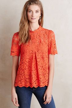 Lace Mockneck Tee - anthropologie.com