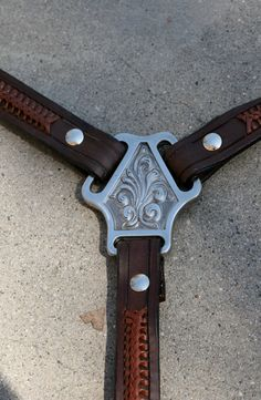 Leather Suspenders with Applique Lacing