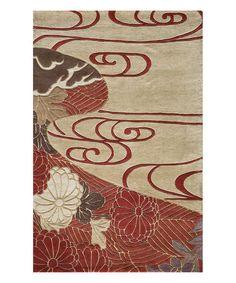 Look at this #zulilyfind! Red & Cream Pagoda Wool Rug #zulilyfinds