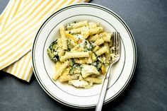 Summer Pasta With Zucchini, Ricotta and Basil. NYT Cooking: A summer pasta should be simple and fresh, ideally made with vegetables straight from the garden or market. Look for the best artisanal ricotta Vegetarian Recipes, Cooking Recipes, Healthy Recipes, Cooking Games, Basil Recipes, How To Cook Pasta, The Fresh, Food Processor Recipes, Main Dishes