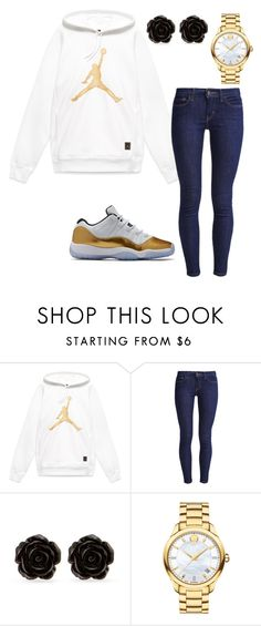 """Gold Jordan"" by sweet-brownsuga ❤ liked on Polyvore featuring Levi's, Erica Lyons and Movado"