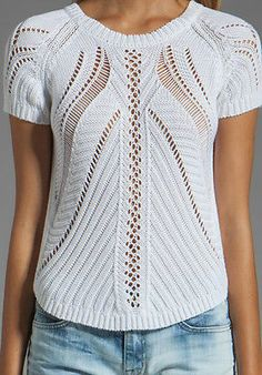 Autumn Cashmere Reversible Open Stitch Hi Low Hand Crocheted Sweater Top