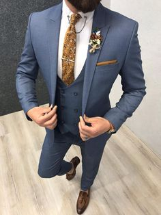 wedding suits men Collection: Spring Summer 2019 Product: Slim-Fit Suit Color Code: Blue Size: Suit Material: wool, polyester Machine Washable: No Fitting: Slim-fit Package Include: Jacket, Vest, Pants, Shirt and Neck Tie Blue Slim Fit Suit, Blue Suit Men, Blue Suits, Mens Fashion Suits, Mens Suits, Groom Suits, Groom Attire, Groomsmen, Costumes Slim