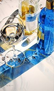 Riesling by Cindy Agan Watercolor ~ 26.50 x 15.50