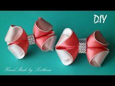 Бантики из лент КАНЗАШИ DIY Bows made of ribbon Kanzashi Laço de Cetim Curva da fita Satin Bows, Ribbon Bows, Hair Ribbons, Little Girl Hairstyles, How To Make Bows, Flower Making, Headbands, Little Girls, Sewing Patterns