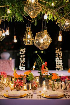 Vibrant Bali Wedding with a Hanging Botanical Installation ⋆ Ruffled Forest Wedding Reception, Wedding Reception Design, Tent Reception, Rooftop Wedding, Wedding Reception Decorations, Wedding Designs, Wedding Table, Wedding Ideas, Decor Wedding