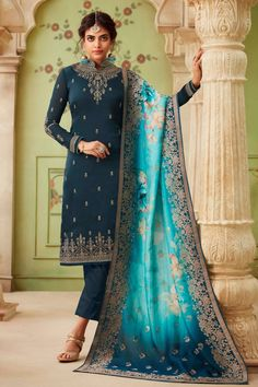 Dark Prussian Blue Satin Georgette Embroidered Straight Cut Suit with Jacquard Floral Dupatta Pakistani Suits Online, Salwar Suits Pakistani, Salwar Suits Online, Pakistani Dress Design, Pakistani Dresses, Satin Color, Blue Satin, Salwar Dress, Designer Anarkali