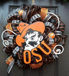 Oklahoma State University Deco Mesh Wreath. $150.00, via Etsy.