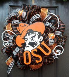 Oklahoma State University Deco Mesh Wreath
