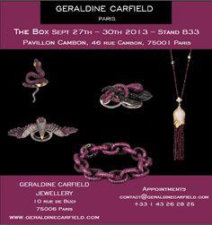 GERALDINE CARFIELD JEWELLERY présentera sa nouvelle collection au salon The Box, au Pavillon Cambon du 27 au 30 septembre à Paris!