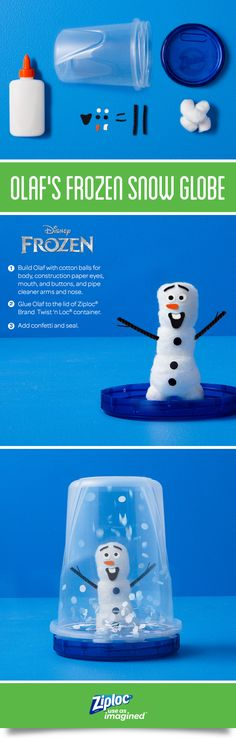 Bring the magic of Disney Frozen to your next party craft with Olaf's Frozen Snow Globe. Start by building your snowman, gluing 3 cotton balls together with piper cleaner arms and nose, then use the construction paper to make eyes, buttons, and a mouth. Next, attach your snowman to the leak-resistant lid of your Ziploc® Brand Twist 'n Loc® container, add confetti inside, and seal for an easy, magical delight.