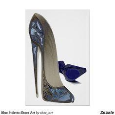 Blue Stiletto Shoes Art Poster