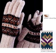 Fair Isle mittens and gloves (charts) - Monika Romanoff - Picasa Web Albums Knitted Mittens Pattern, Fair Isle Knitting Patterns, Fair Isle Pattern, Knitting Charts, Knit Mittens, Knitted Gloves, Stitch 2, Hobbies And Crafts, Knit Crochet