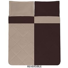 Sweet Home Collection 3 Piece Reversible Polyester Microfiber Goose Down Alternative Comforter Set with Pillow Shams, Full/Queen, Chocolate/Cream -- See this great product by click affiliate link Amazon.com