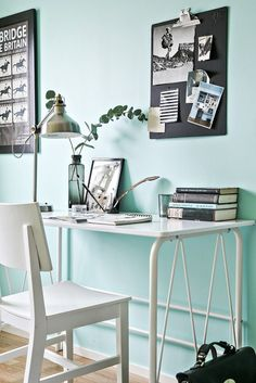 [Home office and a touch of light blue #homeoffice #worspace]
