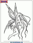 Long Hair Fairy With Wings Coloring Page