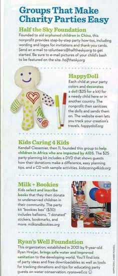 charity birthday party ideas (parents magazine)