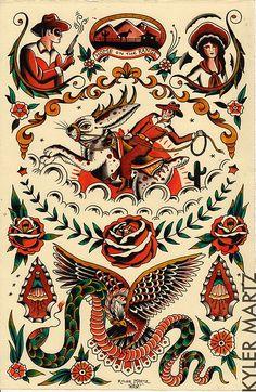 jackelope flash sheet   Kyler Martz   Flickr Tatto Old, Old Tattoos, Tattoos For Guys, Cowgirl Tattoos, Western Tattoos, Traditional Tattoo Old School, Traditional Tattoo Design, Tattoo Flash Sheet, Tattoo Flash Art