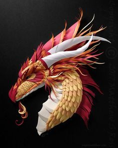 """11 Likes, 3 Comments - Matthew Ross (@papermatthew) on Instagram: """"""""Red Plated Dragon"""" (2017) 16x20 inches #papersculpture #fantasy #illustration #dragon"""""""