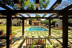 pergola, Old World A New - mediterranean - pool - los angeles - Tommy Chambers Interiors, Inc.