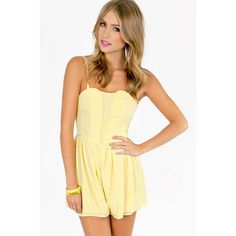 Tobi Genie Romper ($38) ❤ liked on Polyvore featuring jumpsuits, rompers, shorts, yellow, sweetheart romper, playsuit romper, yellow romper, yellow cami and yellow camisole