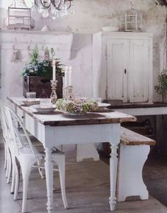 The faded elegance of this dining room brings to mind a fairy story or a home of…